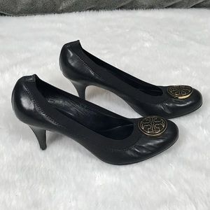 💥Tory Burch 'Caroline' black & gold pumps/ heels